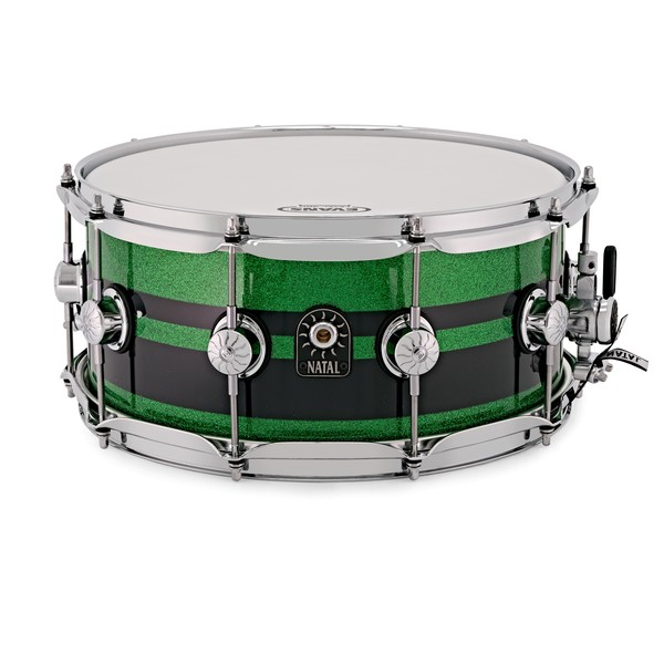 Natal Café Racer 14'' x 6.5'' Snare Drum, Green Sparkle w/ Duo Band
