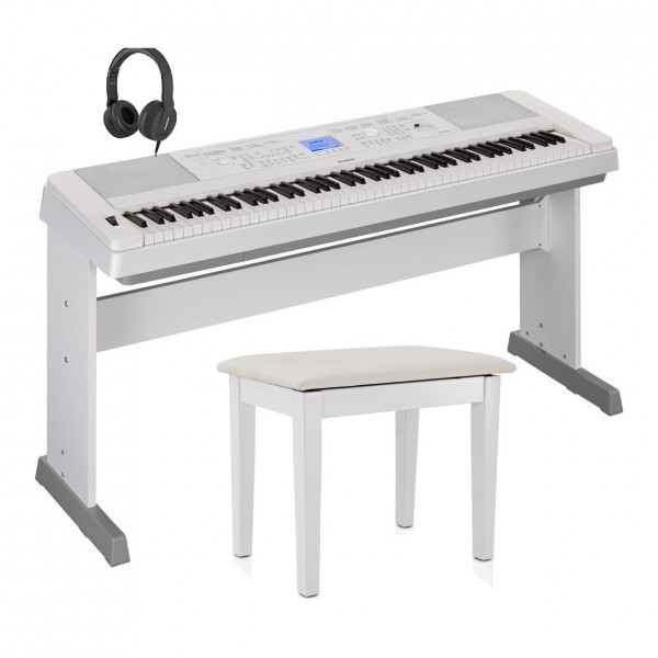 Yamaha DGX 660 Digital Piano with Stand Package, White