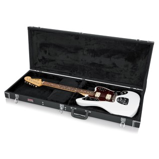 Gator GW-JAG Deluxe Offset Electric Guitar Case, Open with Guitar
