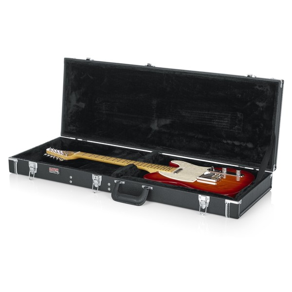 Gator GW-ELECTRIC Deluxe Electric Guitar Case, Open with Guitar