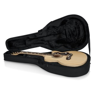 Gator GL-JUMBO Rigid EPS Jumbo Acoustic Guitar Case, Open with Guitar