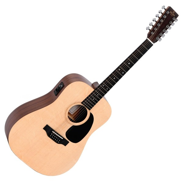 Sigma DM12E+ 12 String Electro Acoustic, Natural Front View