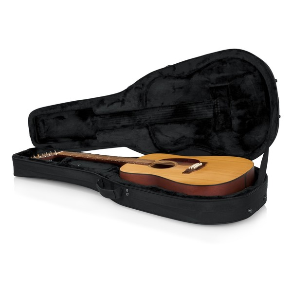 Gator GL-DREAD-12 Rigid EPS Dreadnought Acoustic Guitar Case, Open with Guitar