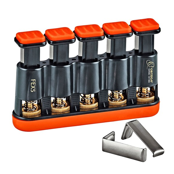 Ortega FEX5 Adjustable Finger Exerciser, Orange/Black