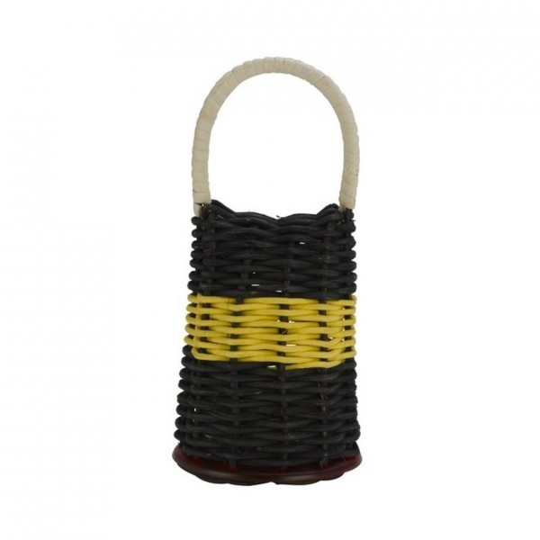 Natal Caxixi Large, Black, Yellow Band with Red Ends