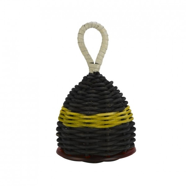 Natal Caxixi Small, Black, Yellow Band with Red Ends