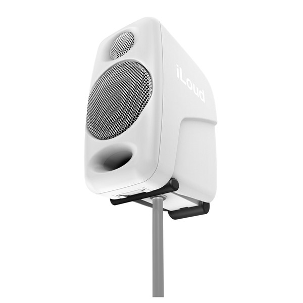 IK Multimedia iLoud Micro Monitor Studio Referencing System, White - Attached to Mic Stand (mic stand not included)