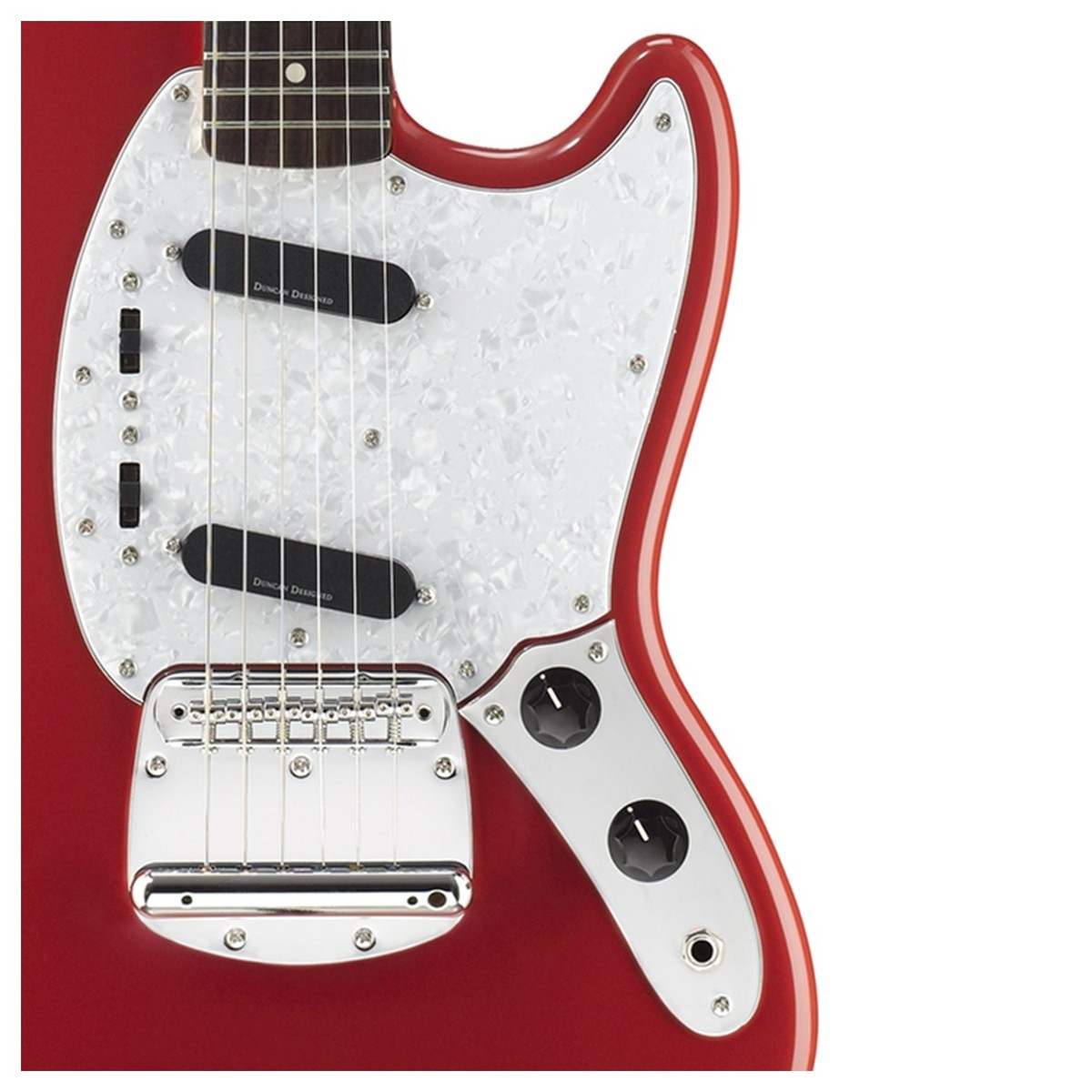 Squier Vintage Modified Mustang Fiesta Red At Gear4music Custom Jazz Bass Mod Master Volume Tone And Balance Control Front Close Up Controls Pickups Loading Zoom