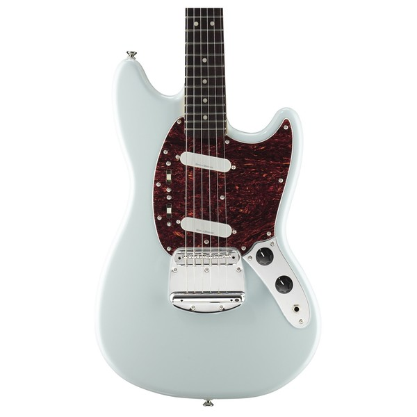 Squier Vintage Modified Mustang, Sonic Blue front close up view