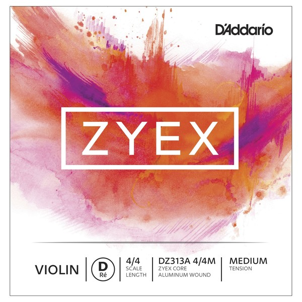 D'Addario Zyex Violin Aluminum D String, 4/4 Size, Medium