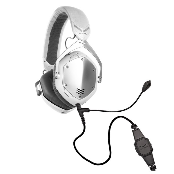 V-Moda Crossfade Wireless Gaming Headset, White Silver - Bundle