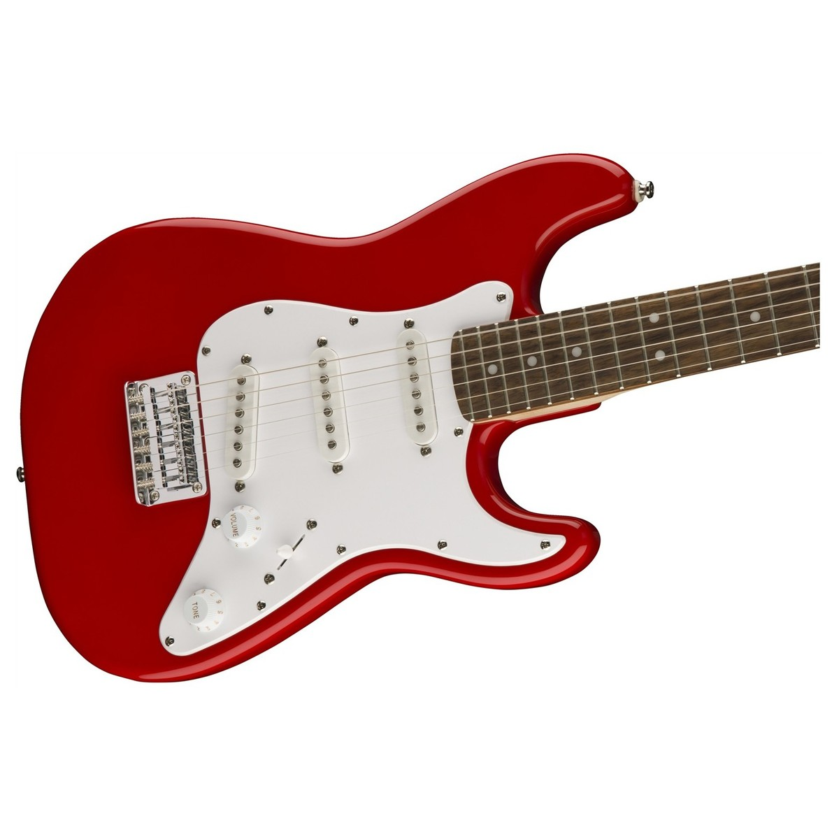 Squier Mini Stratocaster 3/4 Size, Torino Red front angled view. Loading  zoom