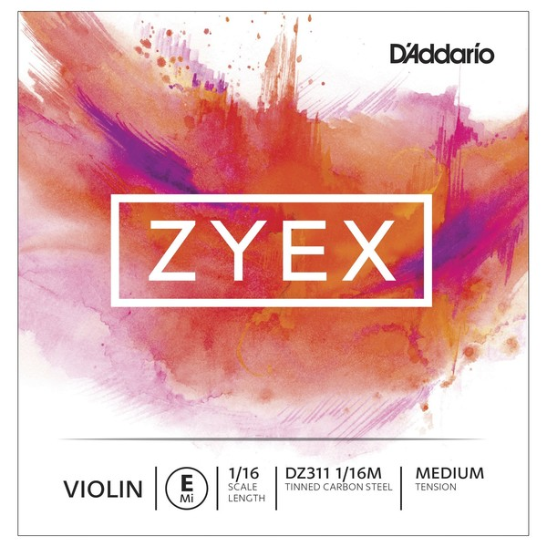 D'Addario Zyex Violin E String, 1/16 Size, Medium