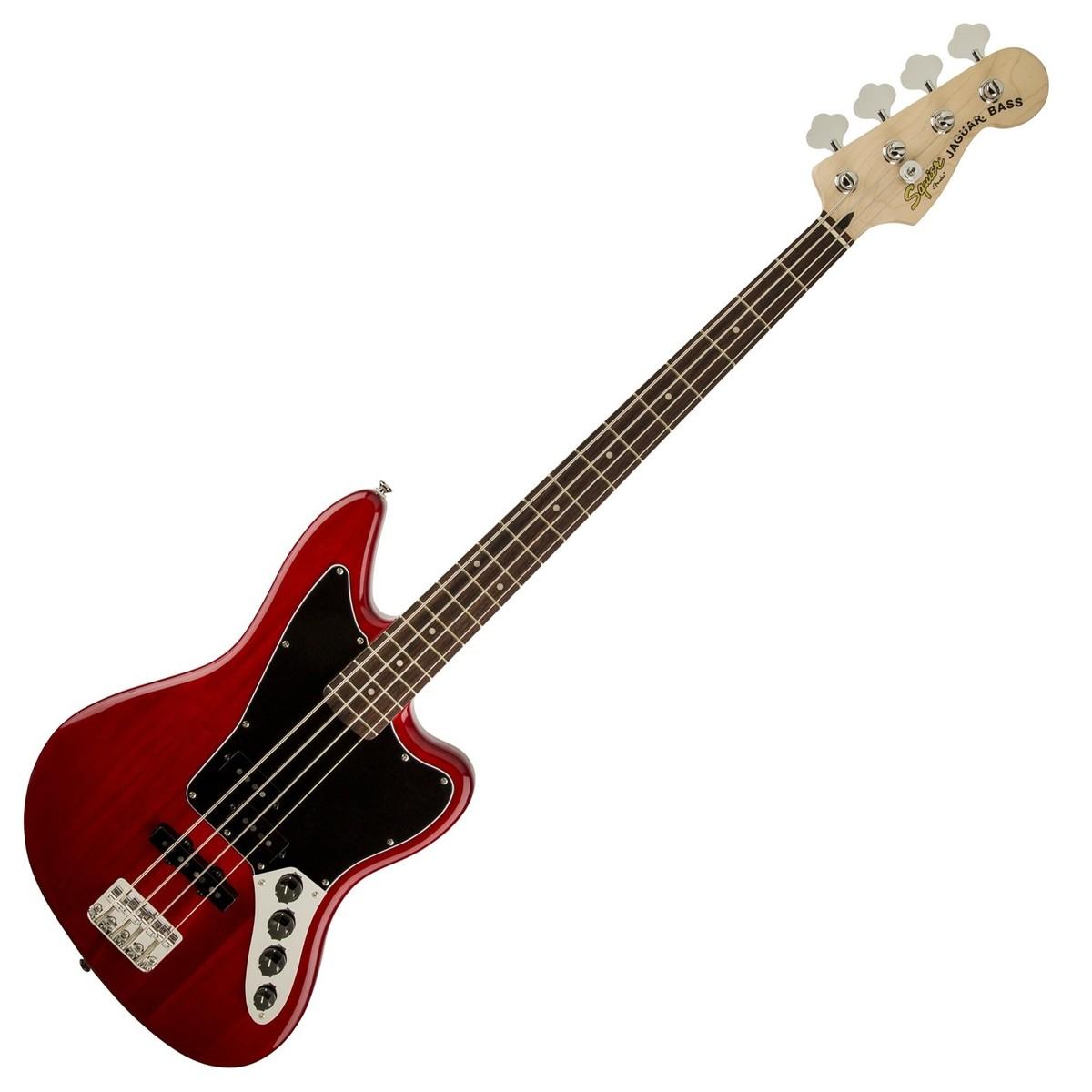 Squier Vintage Modified Jaguar Bass Special, Crimson Red Transparent