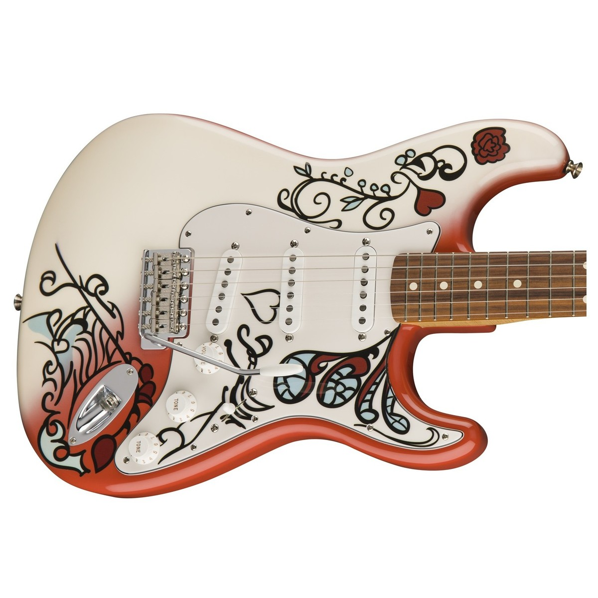 fender jimi hendrix monterey stratocaster monterey artwork box opened at gear4music. Black Bedroom Furniture Sets. Home Design Ideas