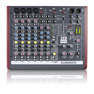 Allen and Heath ZED-10FX USB Compact Stereo Mixer - Top