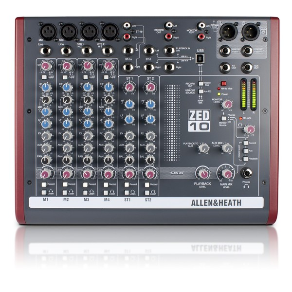 Allen and Heath ZED-10 USB Compact Stereo Mixer - Top