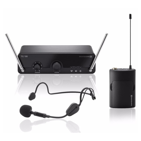 Beyerdynamic TG100B VHF Headset Wireless Mic Belt Pack System, Band 1 - Main