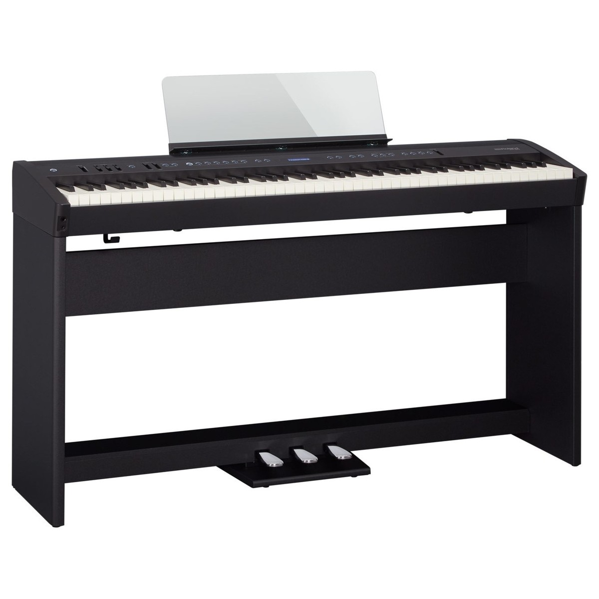 roland fp 60 digital piano with stand and pedals black at gear4music. Black Bedroom Furniture Sets. Home Design Ideas