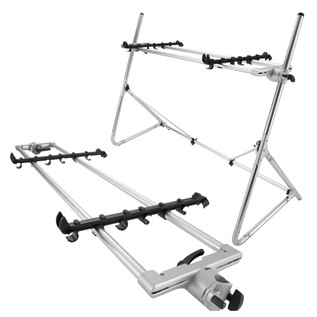 Sequenz Standard Double Tier Large Keyboard Stand, Silver - Bundle