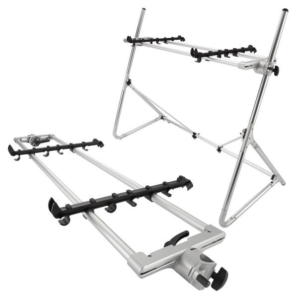 Sequenz Standard Double Tier Medium Keyboard Stand, Silver - Bundle