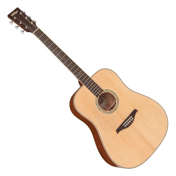 Vintage V501 Acoustic Left Handed, Satin Natural Front View