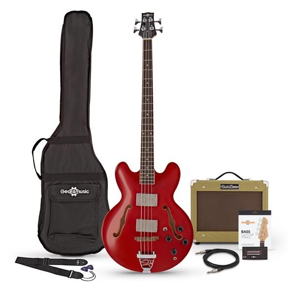 San Francisco Semi Acoustic Bass + SubZero V15B Amp Pack, Red