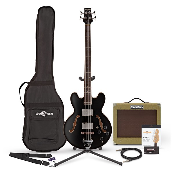 San Francisco Semi Acoustic Bass + SubZero V35B Amp Pack, Black
