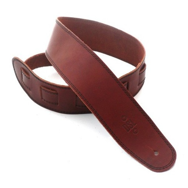 "DSL Leather 2.5"" Guitar Strap, Maroon with Black Stitching"