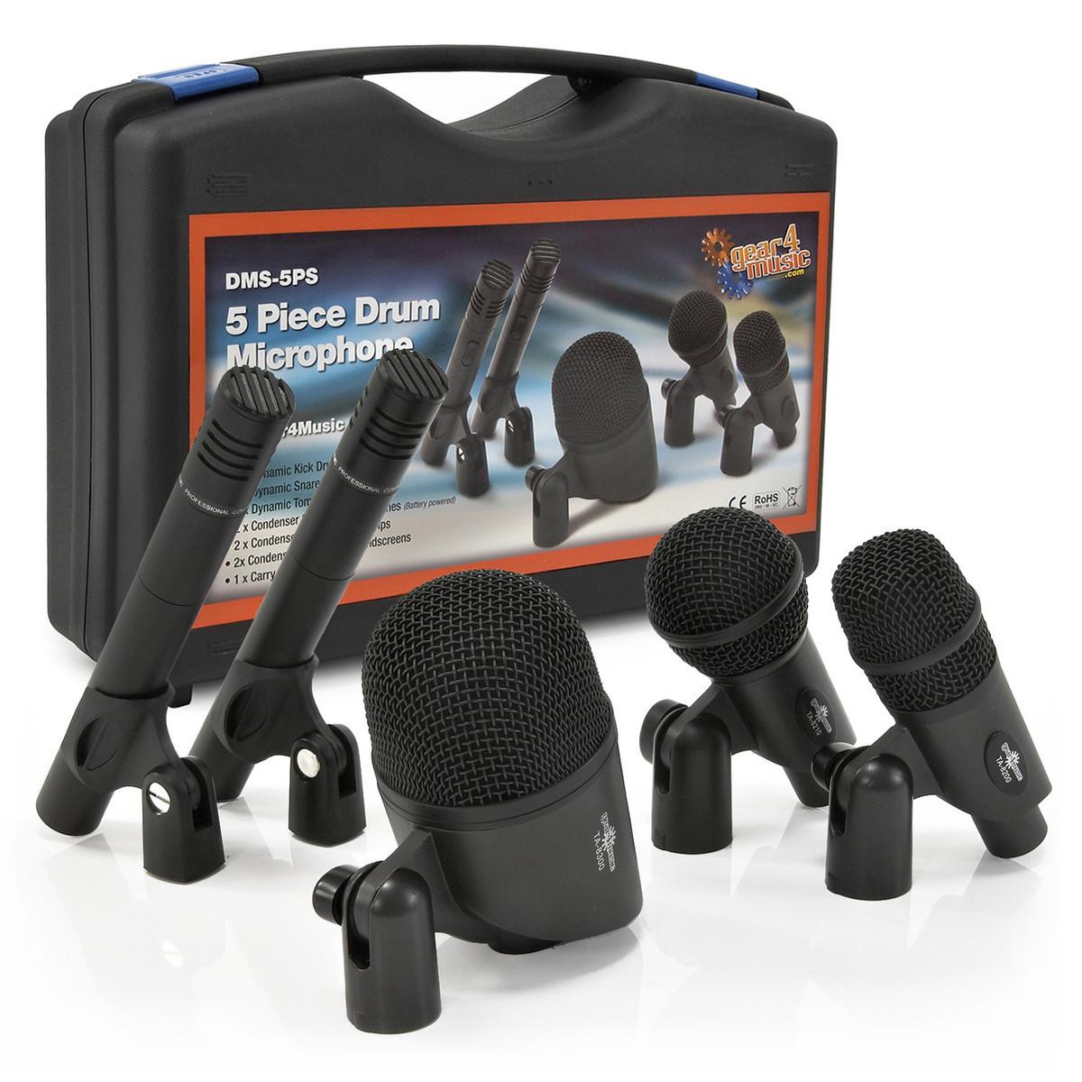 5 Dels Trommemikrofonsett med Bærekoffert fra Gear4music