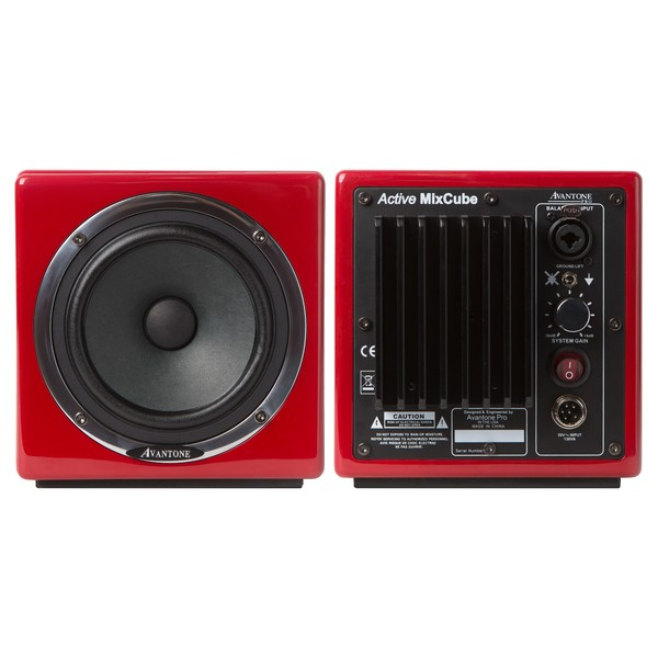 Avantone Mixcube Active Studio Monitors, Red - Front and Back