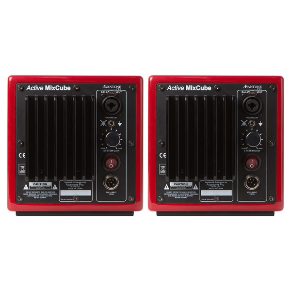 Avantone Mixcube Active Studio Monitors, Red - Back