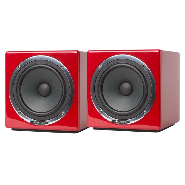 Avantone Mixcube Active Studio Monitors, Red - Angle