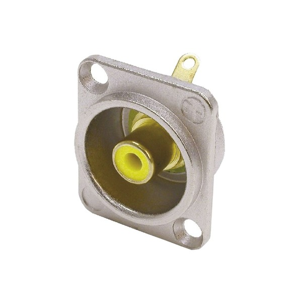 Neutrik NF2D-4 D-Shaped Phono Chassis Socket, Nickel and Yellow 1