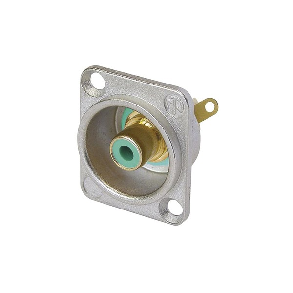 Neutrik NF2D-5 D-Shaped Phono Chassis Socket, Nickel and Green 1