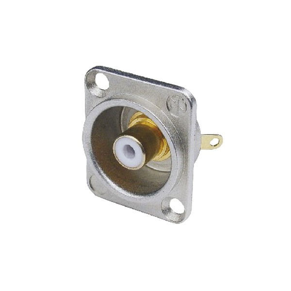 Neutrik NF2D-9 D-Shaped Phono Chassis Socket, Nickel and White 1