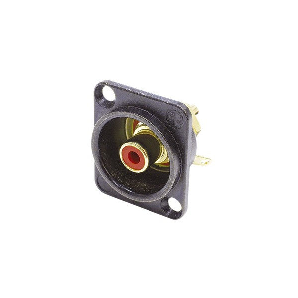 Neutrik NF2D-B-2 D-Shaped Phono Chassis Socket, Black and Red 1