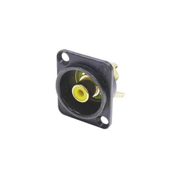 Neutrik NF2D-B-4 D-Shaped Phono Chassis Socket, Black and Yellow 1