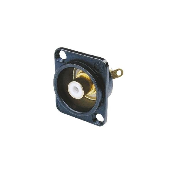 Neutrik NF2D-B-9 D-Shaped Phono Chassis Socket, Black and White 1
