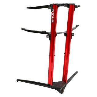 STAY Keyboard Stand PIANO, 2-Tiers, 4 Arms, Red - Back