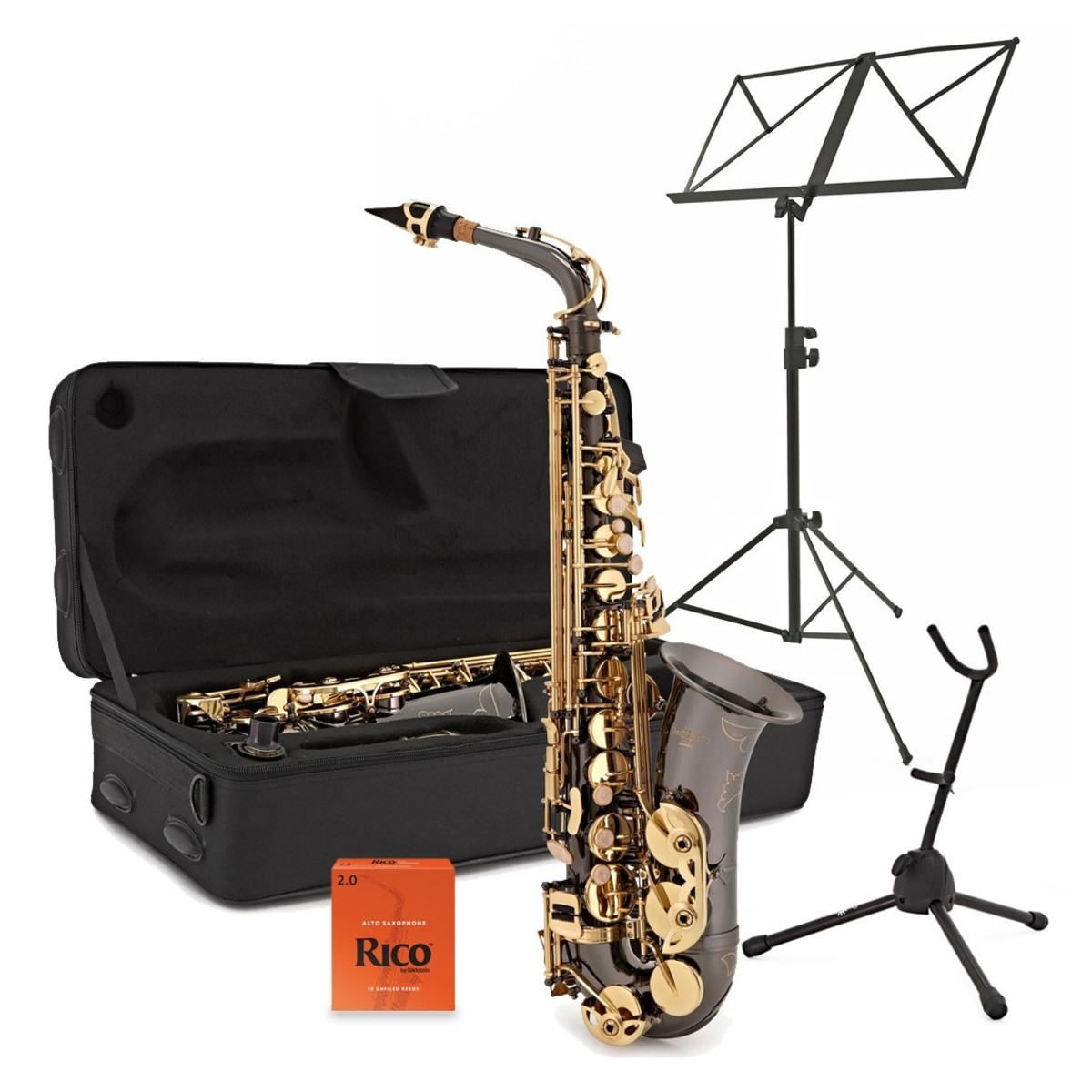 Click to view product details and reviews for Alto Saxophone Complete Package Black Gold.