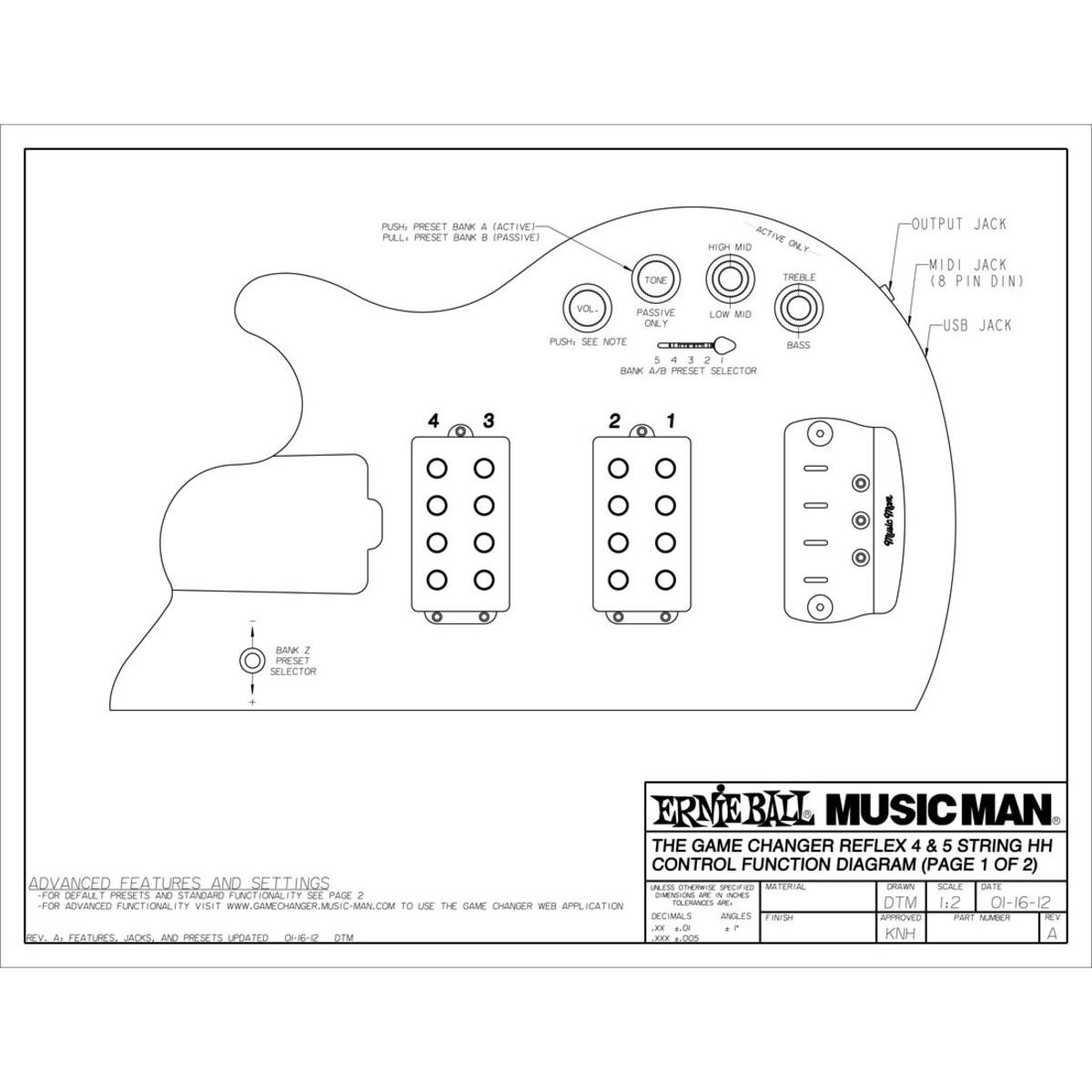 Music Man Reflex Game Changer Hh Bass Guitar Rn Black B Stock At Two Pickup Wiring Diagram Loading Zoom