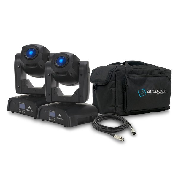 ADJ Pocket Pro Spot Moving Head, Pair with Free Bag and Cables 1