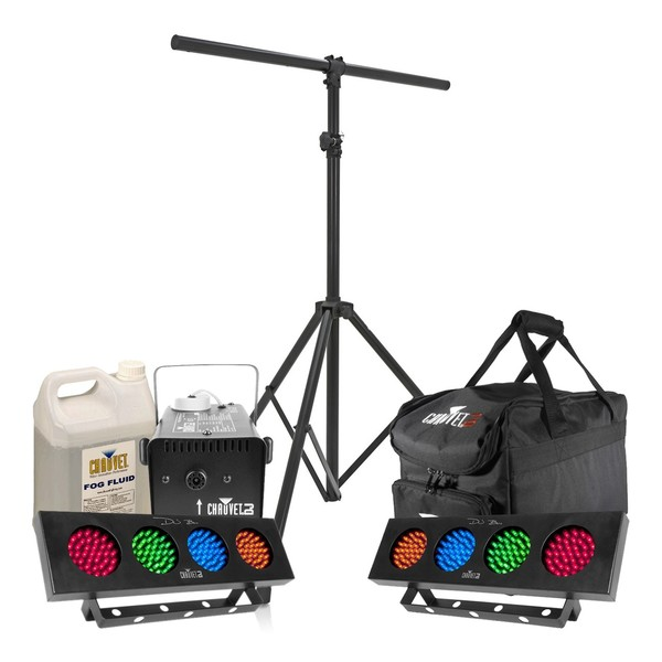 Chauvet DJ Bank LED Light Pack with Fog Machine, Stand and Bag