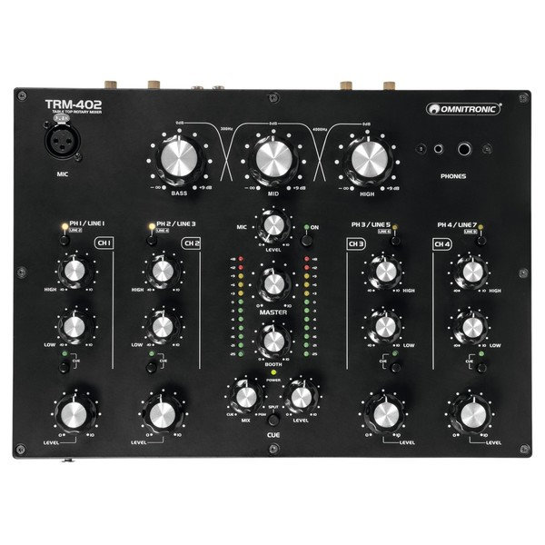 Omnitronic TRM-402 4 Channel Rotary Mixer - Top