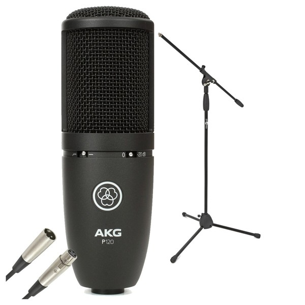 AKG P120 Large Diaphragm Condenser Microphone With Stand & Cable - Bundle