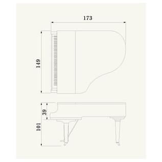 Yamaha C2X Grand Piano, Polished Mahogany