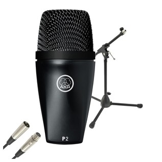 AKG P2 Dynamic Microphone for Bass Instruments With Stand & Cable - Bundle