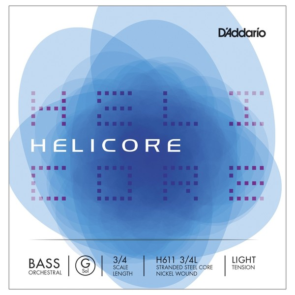 D'Addario Helicore Orchestral Double Bass G String, 3/4 Size, Light
