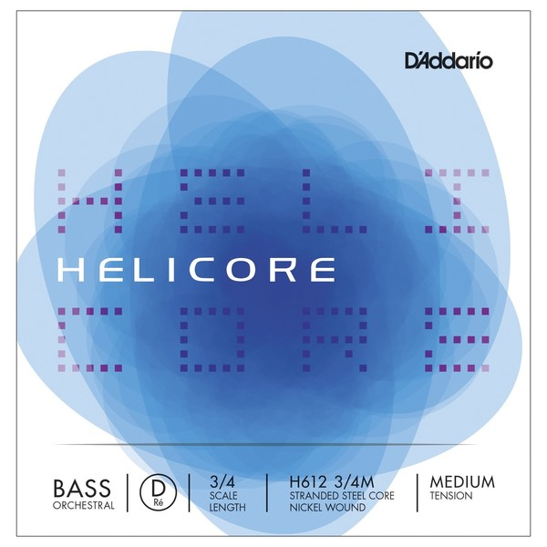 D'Addario Helicore Orchestral Double Bass D String, 3/4 Size, Medium